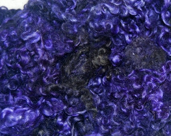 Wool Doll Hair, Cotswold wool locks, Locks for Spinning, Felting, Blythe Doll Hair, Dark Charcoal with Punk Violet Purple Highlights 1 oz.