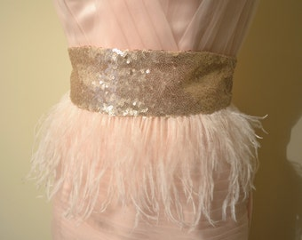 Feathered sequin obi belts - choose your sequin and feather colors; great gifts for fashion lovers, weddings and brides, or street style