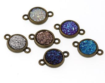 10mm Antiqued Bronze Tone Double-sided Charm Drop Pendant Tray Bezel Blanks Bracelet Connector Charms