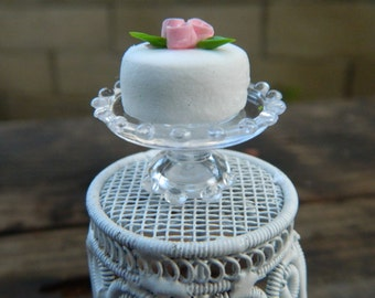 Fairy Cake  Miniature Birthday Cake On Plate Stand Dollhouse Accessories Fairy Garden Accessory Pink Rose Cake