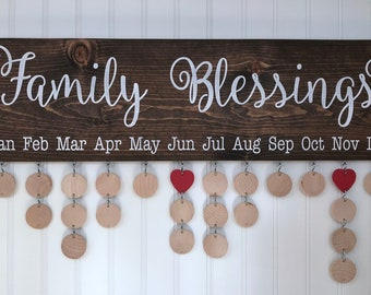 Family Blessings Board with Natural Discs - Family Birthdays Calendar - FBL002N