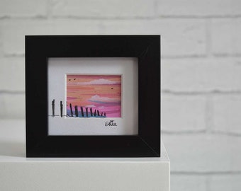 Sunset original illustration in frame