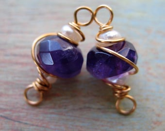 Faceted Amethyst and Seed Pearl Bead Connectors - 1 pair - 16mm in length