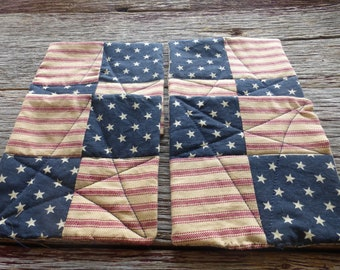 Red, White and Blue Coasters (4), Rustic Coasters, American Flag Coasters, Americana Coasters, Mug Rug