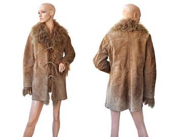 Vintage women coat fur leather brown