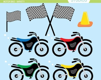 Motor Bike - Variety - Clip Art - Digital Elements Commercial use for Cards, Stationery and Paper Crafts and Products