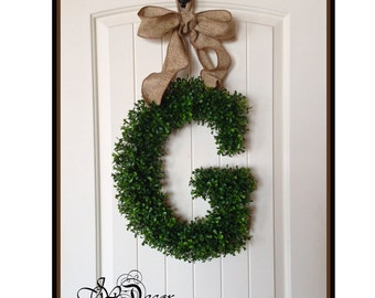 Birthday Gift - Boxwood Letter - Door Decoration, Monogram Wreath - Wreaths  - Artificial Boxwood Wreath -Initial Door Wreath