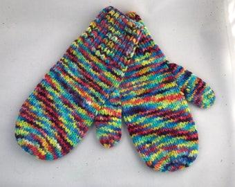 Rainbow wool mitten