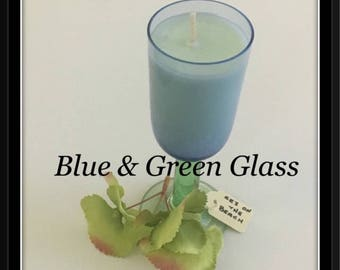 Blue and Green Glass - Soy Wax Candle  - Hand poured
