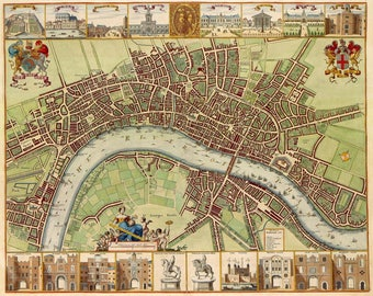 Antique map of London, 17th century old map, art deco old map, vintage decor, fine art print