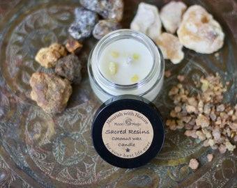 Sacred resins Candle, coconut wax, vegan, natural candle!