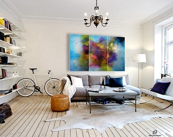 XXLarge abstract painting by Alex Senchenko. Contemporary ART. Modern, original, wall art.   100% Hand-Made.  LOOKS STUNNINGLY.