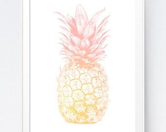 Pineapple Print, Coral Wall Art, Wall Print, Coral Gold Nursery, Gold Pineapple, Pineapple Wall Art, Pink Pineapple Print, Pink Pineapple