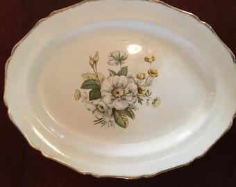 Vintage Serving Tray | Gold Trimmed Platter | Flower Detail Royal Wilton Markings | Mid Century Serving Tray | Vintage Turkey Platter