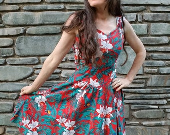 80s 1980s does 50s 1950s tropical Hawaiian dress parrots birds red party bombshell pinup