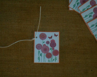 Hand Made Retro Flowers Gift Tags - Package of 6