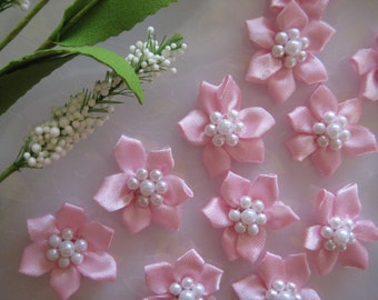 Hot Pink Satin Flowers 7 Pearls Center for Hair Clips, Doll's Clothing, Baby Booties, Crafting, Sewing, 12 pieces, 1.25 inches / 32 mm