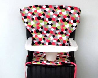 wood chair pad highchair cushion, Eddie Bauer newport or safety first wood chair cover, high chair protector, baby accessory dots on pink