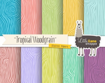 SALE: Faux Bois Woodgrain Digital Paper, Wood Print Digital Backgrounds Tropical Colors, Commercial Use, Instant Download