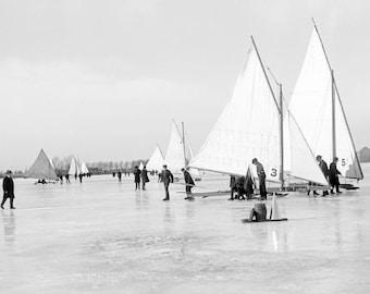 "1900 Ice Yachting on Lake St. Clair, MI Vintage Photograph 11"" x 17"" Reprint"