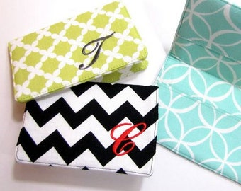 Monogram Fabric Business Card Holder Credit Card Holder Gift Card Holder Receipt Holden Teacher Gift Bridal Shower Christmas Gift ONE LETTER