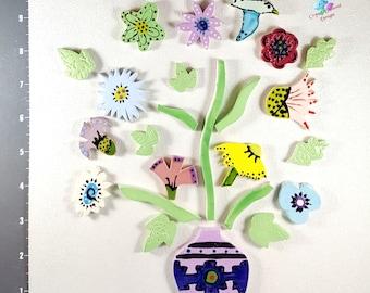 Mix of Flower in a BOUQUET - Kiln Fired Handmade Ceramic Mosaic Tiles M3424