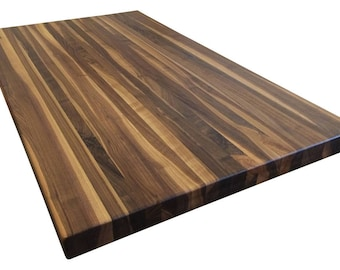 Rustic Walnut Butcher Block Countertop   Edge Grain   Kitchen Island Top    Custom Sizes Available