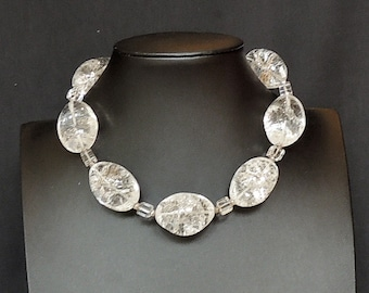 Ice flake quartz and silver necklace