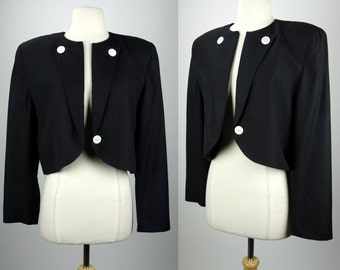 Christian Dior blazer, black designer vintage jacket with white glass buttons, wool, Large, The Suit