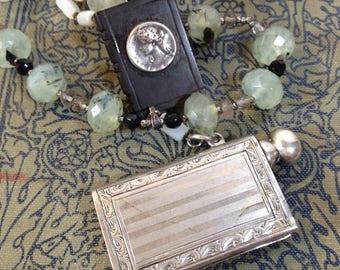 Book Lover Necklace Bookworm Antique Assemblage - Owls2Athens