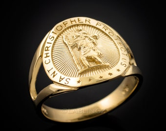 Gold Saint Christopher Medallion Ring (yellow, white, rose gold)
