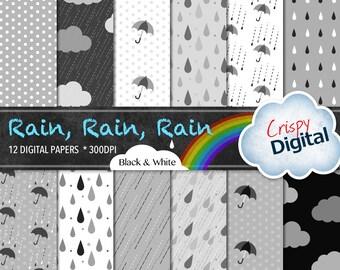 Digital Papers Rain Drops, Polka Dots, Clouds and Umbrellas White, Black and Gray 12pcs 300dpi Digital Download Scrapbooking Printable Paper