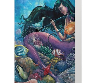 "Ocean Reef Mermaid 5x7"" Card (Blank Inside)"
