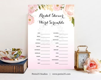 Word Scramble, Pink Peony, Wedding shower game, bridal shower game, INSTANT DOWNLOAD, printable game, soft pink roses
