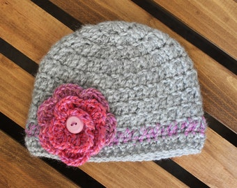 Pink and Gray Flower Crochet Hat Beanie