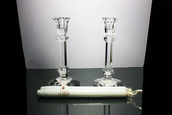 Echt Bleikristall, Crystal Candlesticks, 24% Leaded Crystal, 8 Inch Tall, Candle Holders, Pair, Clear Glass, White Taper Candles Included