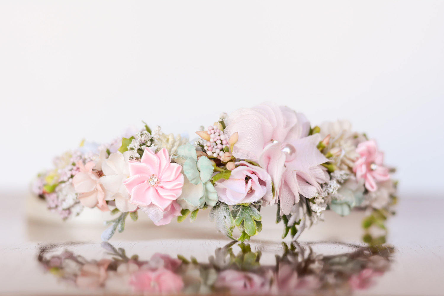 Flower crown in pink and mint flowergirl hairpiece pink description flower crown relaxing shades of izmirmasajfo
