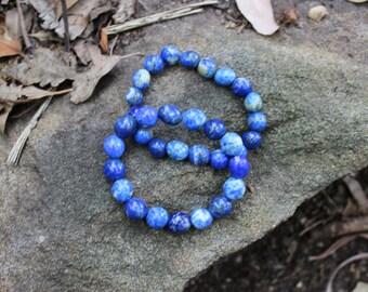 FREE SHIPPING Lapis lazuli bead bracelet