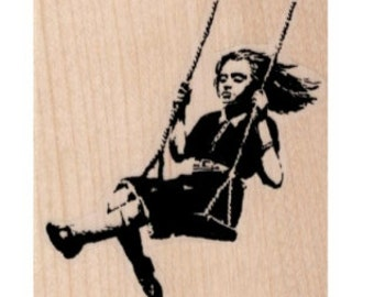 Rubber stamp Banksy Girl on a swing stamping graffiti outsider art apocalypse zombie  craft supplies number 19425