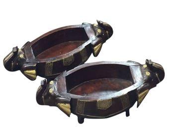 Vintage 2 Decorative Wooden Elephant Shape jewel Bowl shabby cottage chic Decor FREE SHIP