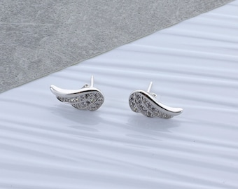 Zirconia Angel Wing Earrings