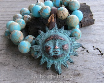 SALE Celestial Sun || Greek Casting | Natural Stones | Earthy | Organic | Hand-knotted Necklace | OOAK | Sun Worshiper | Sun Lover