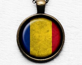 Romania Romanian Flag Pendant & Necklace