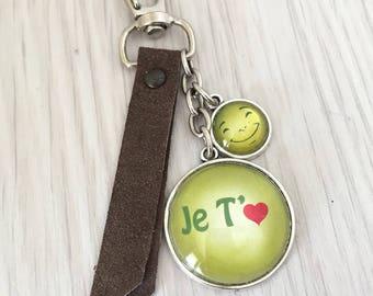 porte-clés bijou de sac a message thème Je t'aime, cuir texturé .Sup11
