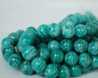 "High Quality Grade A Natural Russian Amazonite Semi-precious Gemstone Round Beads - 4mm, 6mm, 8mm, 10mm sizes - Approx 16"" strand"