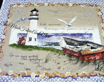 "Diane Morgan's By The Sea Nautical LG Fabric Panel~34""x44""~For Wall or Quilt~Lighthouse~ocean~seashells~Slightly Imperfect~Bargain Bin"
