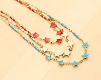 Star Charm Necklace - Red, Blue or Cream
