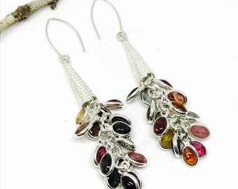 Tourmaline earrings. Set in sterling silver 92.5. Natural authentic multicolor stone earring. Length- 2.25 inch long.