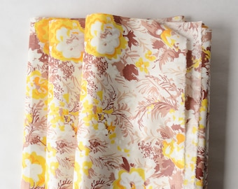 """By the Yard 1930s-40s Vintage Fabric Abstract Floral Cotton Yellow 36"""" Wide -527-L7"""