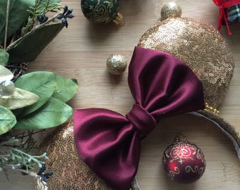 Christmas Minnie Ears, Gold and Maroon Christmas Ears, Christmas Mickey Ears, Christmas Mouse Ears, Holiday Ears, Holiday Minnie Ears, MVMCP
